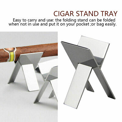 Silver Stainless Steel Foldable Ashtray Cigarette Cigar Stand Holder Tools