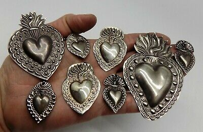 ANTIQUE LOT OLD 8 Sacred Heart Jesus Ex Voto MIRACLE MILAGRO SILVERED A-1