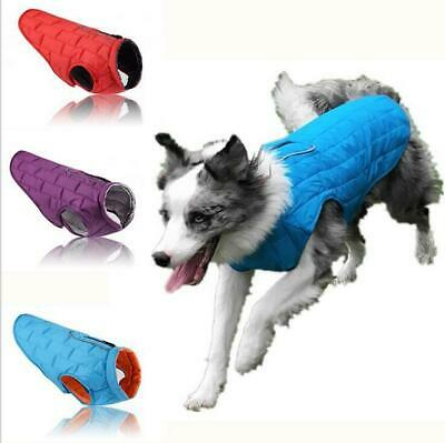 Pet Small Large Dog Winter Warm quilted Reversible Jaceket Cloths HOOK & LOOP
