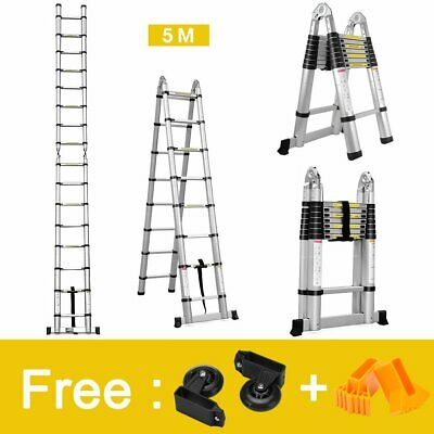 Finether 5 M Échelle Télescopique 2 en 1 Escabeau Pliant Ladder  Multifonctio...