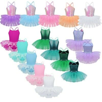 Girls Sequined Ballet Dance Dress Gymnastics Leotard Tutus Performing Costumes
