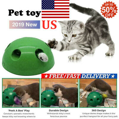 Automatic Pop N' Play Interactive Motion Cat Toy Mouse Tease Electronic Pet Toy'