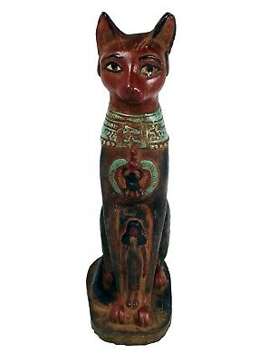 Egyptian Antiques Statue Cat Goddess Bastet Bast Sculpture Figurine Hand Carved