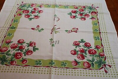 Vintage Sweet Cotton Tablecloth Good Luck Charms 26x30 Horse Shoe Wish Bone++