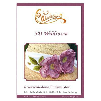 Windesign Stickmuster CD 3D Wildrosen (6 Stickmuster)