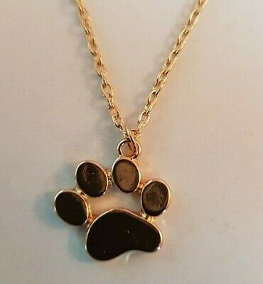 Paw Print Gold Coloured Chain Pendant Necklace Puppy Kitten Dog Cat FREE UK P&P
