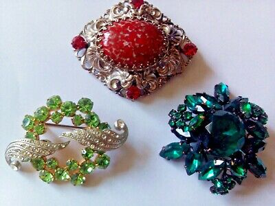 Beautiful antique mirrored glass stones  brooches in art deco style. USSR