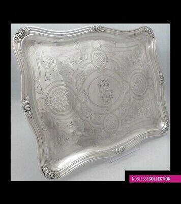 ANTIQUE 1880s FRENCH STERLING SILVER PLATTER SERVING TRAY Napoleon III st. 954g