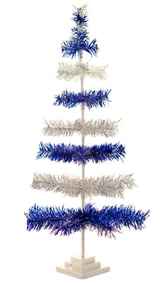"""18"""" Silver and Blue Christmas Tree Tinsel Feather Style Holiday Tree 1.5FT"""