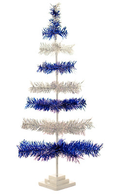"""24"""" Silver and Blue Christmas Tree Tinsel Feather Style Holiday Tree 2FT"""