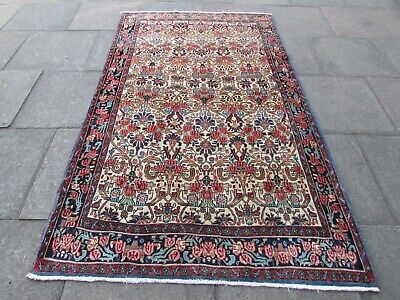 Vintage Traditional Hand Made Oriental White Red Wool Rug Carpet 225x142cm