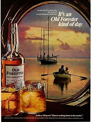 1967 Old Forester Bourbon Whiskey Sailboat Rowboat Paddles Sunset Sea Print Ad