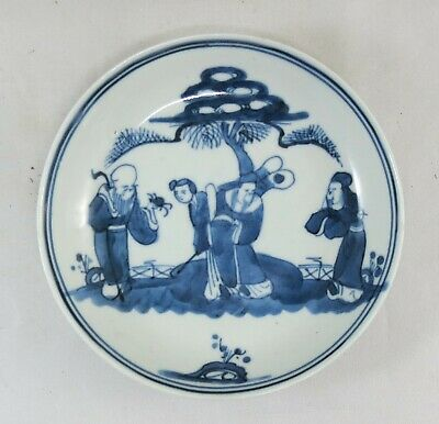 chinese porcelain plate-Shou Lao+3 Immortal Ming decoration-19th century-14cm