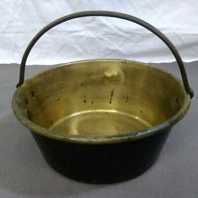 "Vintage Solid Brass Large Bucket Pail Planter with Iron Handle, 12""x 5"" handmade"