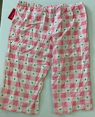 Women's - Sleepwear - Crop Pants - Size XL - Plaid Shamrocks - NWT