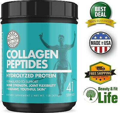 HYDROLYZED COLLAGEN PEPTIDES POWDER 16 Oz Grass Fed Skin Hair Nail Bone Joint