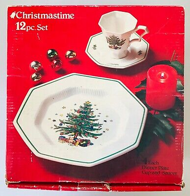 Nikko Christmastime 12 pc Dinner Set Plates Cups & Saucers Made in Japan in Box