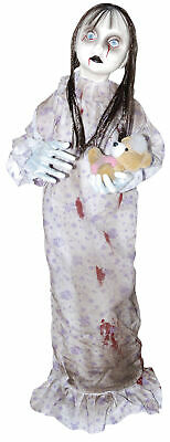 Hanging Creepy Little Girl Babydoll Holding Bear Halloween Prop Decoration
