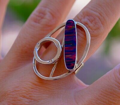 Wonderful Australian Solid Fire Opal & 925 Sterling Silver Ring size 7