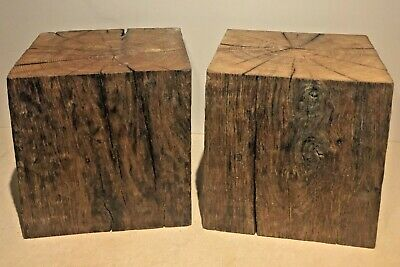 Pair of Large Heavy English Oak Plinths / Display Stands / Bases 24cm Square