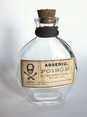 Handmade Arsenic Poison Label Glass Bottle Halloween W/ Cork Decor Witch Potion