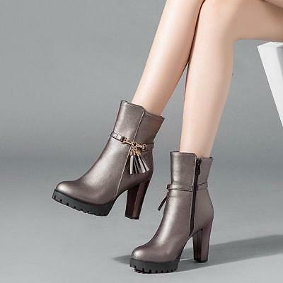 Fashion Womens Platform Round Toe Zip s9 Block Heel Casual High Top Ankle Boots