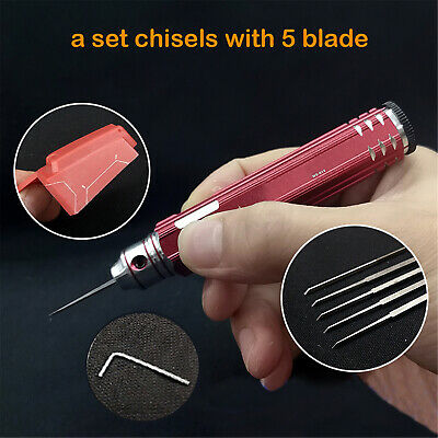 Gundam Resin Carved Scribe Line Hobby Cutting Tool Chisel + 5 Blade Replacement