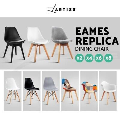 Artiss Eames Dining Chairs Replica Chair PU Leather Fabric Kitchen Cafe x2/4/6/8