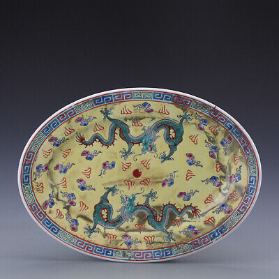 Chinese ancient antique hand make Pastel  Dragon pattern plate s897