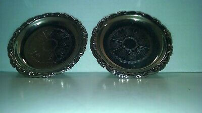 Vintage Set Of 2 Silver Plated Coaster