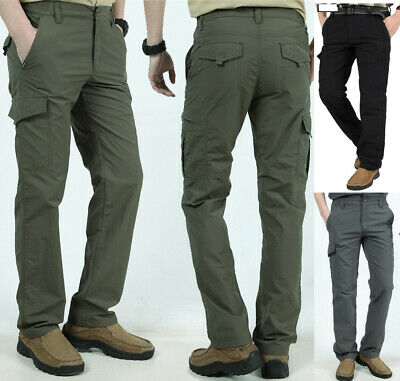Men Tactical Work Cargo Pants Combat Quick Dry LightWeight Cargo Hiking Trousers