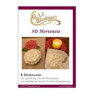 Windesign Stickmuster CD 3D Hortensie (8 Stickmuster)