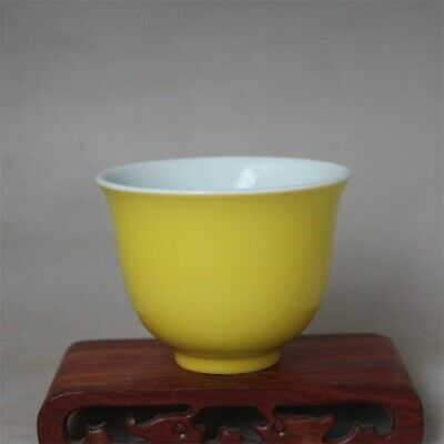 Chinese ancient antique hand make Yellow glazed tea cup Porcelain s907