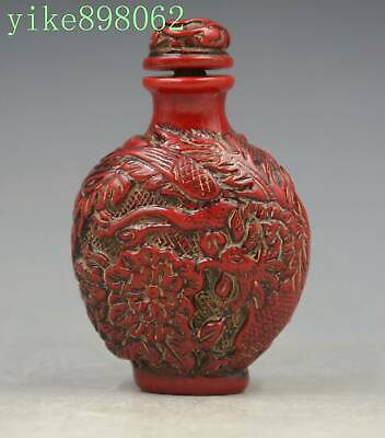 Beautiful China sculpture imitation red coral resin Dragon phoenix snuff bottles