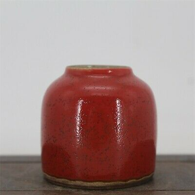 Chinese ancient antique hand make Red Glaze water wash  Porcelain s944