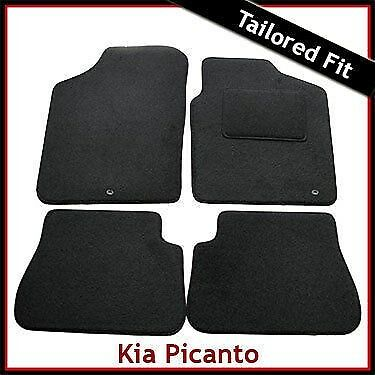 KIA PICANTO 2011 ONWARDS TAILORED CAR FLOOR MATS BLACK CARPET WITH RED TRIM