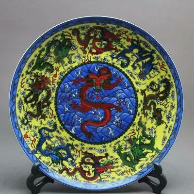 Chinese ancient antique hand make Dragon pattern plate ss946