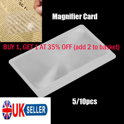 Pocket Magnification tool Magnifying glass Credit Card Size 3 X Magnifier UK