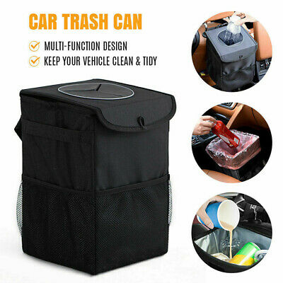 Hanging Car Trash Bag Can Bin Waterproof Folding Litter Garbage Bag Black