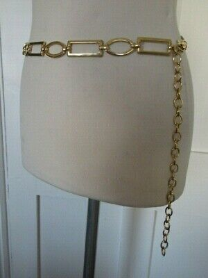 Vintage 1990'S Gold Tone Metal Chain Link Belt Oblong And Oval Links