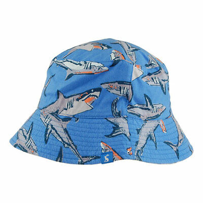 Joules Hats Kids Brit Sharks Reversible Bucket Hat - Blue