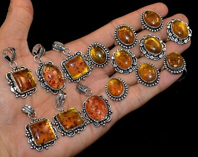 50 PCs. Mix Lot Faceted Baltic Amber Gemstone 925 Silver Plated Pendants, Rings