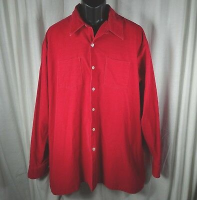 Vintage Mens Corduroy Shirt XXLT TALL Sovereign True Red USA