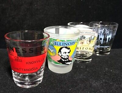 Lot Of Four Collectible State Souvenir Shot Glasses