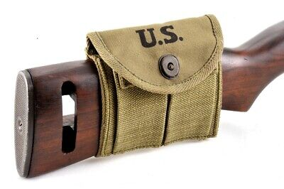 ONE USGI WW2 .30 M1 CARBINE  BUTTSTOCK TYPE POUCH Lt. OD Dated 1943 Grade #2