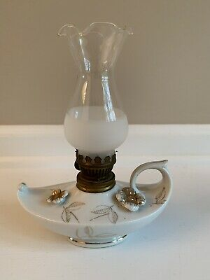 Vintage Small Oil Lamp Ceramic Porclein W/ Painted Gold Floral Aladdin Genie