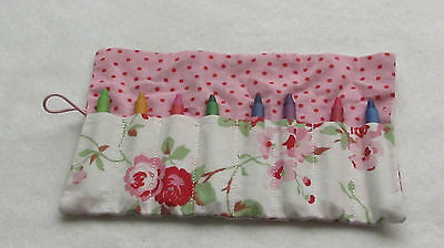 Cath Kidston Rosali rose pencil/crayon roll with 8 pencils or crayons - birthday