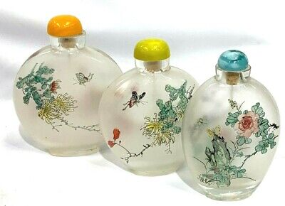 Vintage Opium Snuff Bottle Reverse Painted With wand