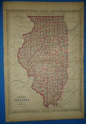 Vintage 1868 ILLINOIS Map Old Antique Original Johnson's Atlas