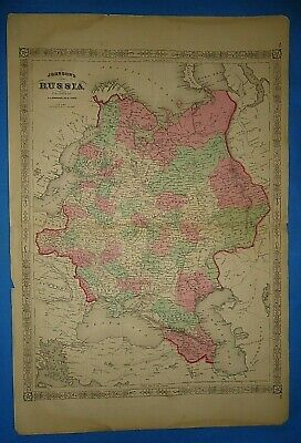 Vintage 1868 RUSSIA Map Old Antique Original Johnson's Atlas